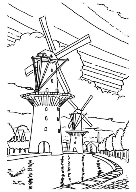 Netherlands Coloring Pages Windmills Page   grig3.org