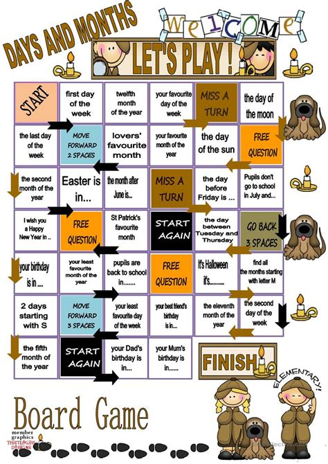 printable board games days of the week days and months board game worksheet free esl