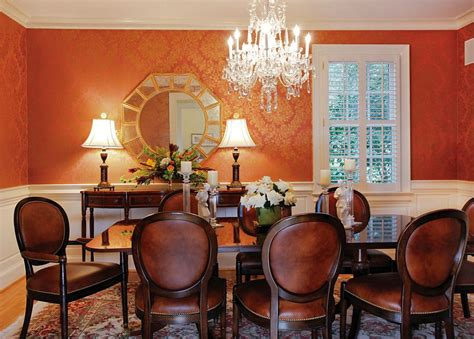 gold wallpaper dining room 25 trendy dining rooms with spunky orange