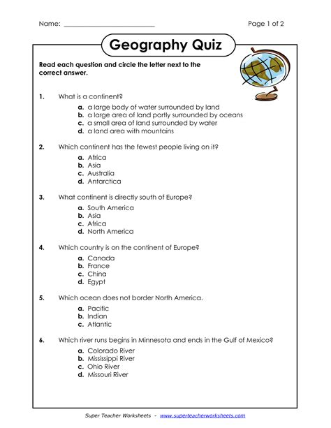 Landform Worksheet by Landforms Worksheets Images Search
