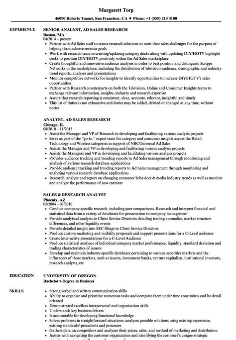 research resume sles sales research analyst resume sles velvet