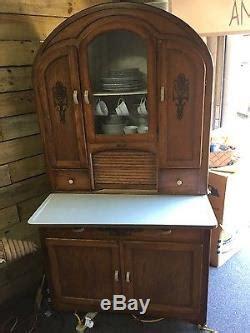 antique oak hoosier cabinet  top  stencils