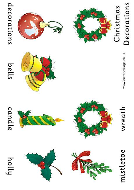 christmas decorations vocabulary booklet