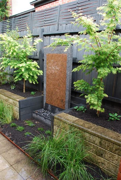 Feature Garden Ideas Water Feature Ideas Designs Landscape Contemporary With Black Fence Black Fence Japanese Maple