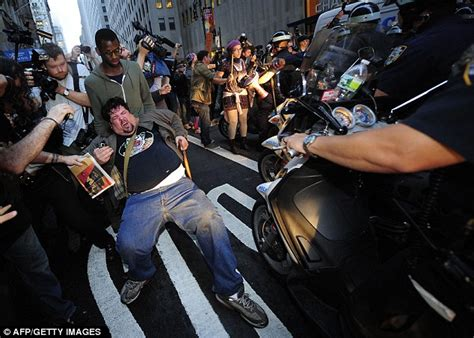 nypd equipment section hours throwing punches and mowing them down with motorbikes the