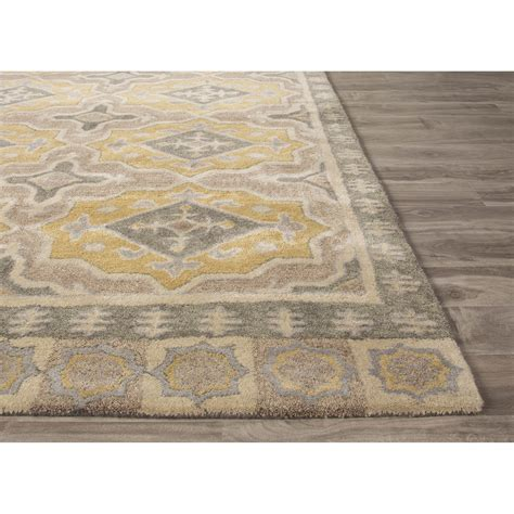 gray rug jaipurliving pendant tufted gray yellow area rug wayfair