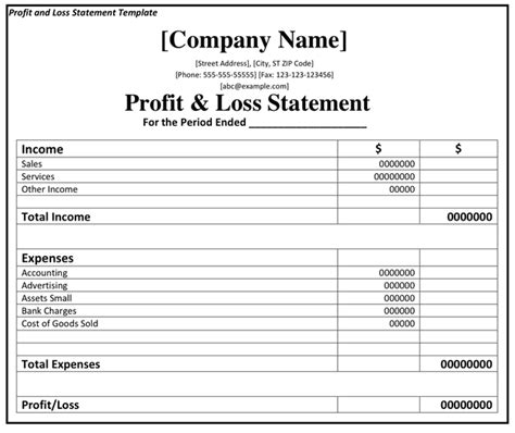 template for profit and loss statement printable profit and loss statement format excel word