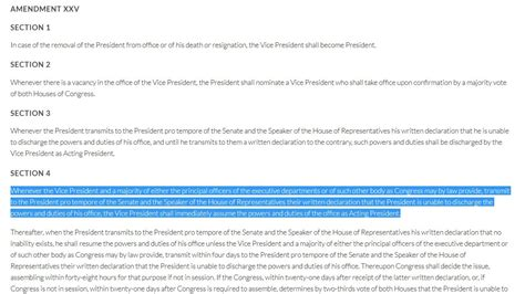 section 4 of the 25th amendment petition 183 the vice president use section 4 of the 25th