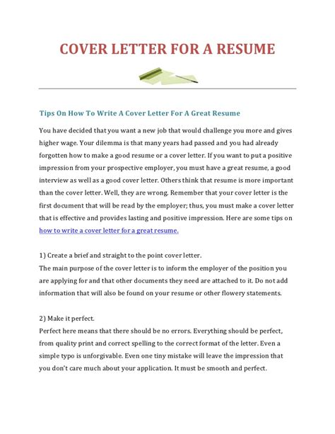 how to write a great cover letter exles how to write a cover letter for a resume