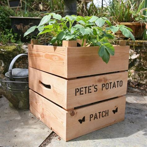 Wooden Potato Planter by Personalised Square Wooden Potato Crate