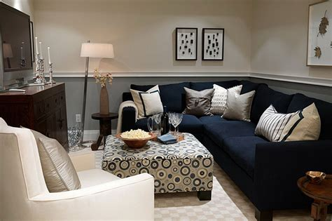 Navy Sofa Living Room Gray And White Themed Navy Living Room Ideas With Modular Black L Shaped Fabric Sofa Furniture