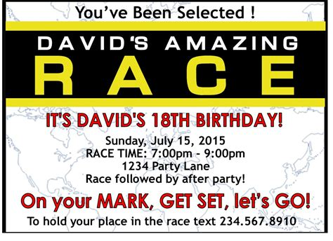 amazing race birthday party invitations free