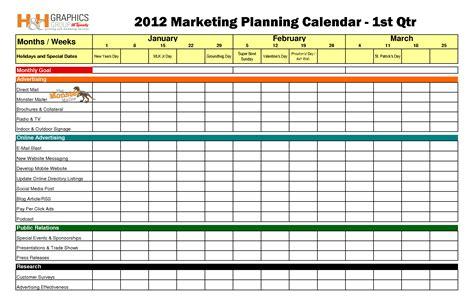 12 month marketing plan template best photos of marketing calendar template