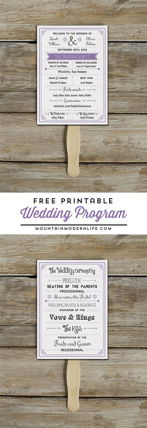Free Printable Wedding Program Mountainmodernlife Com Wedding Program Fan Template