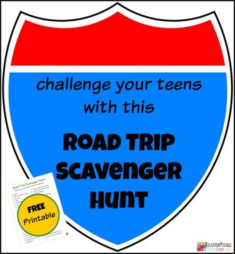 printable road trip games for tweens challenge your teens with a road trip scavenger hunt