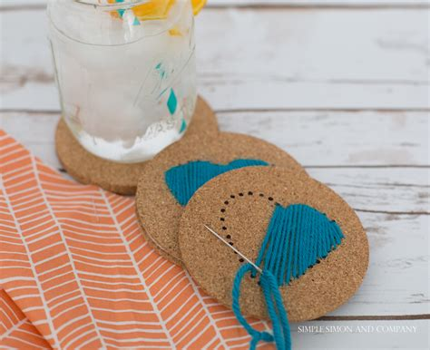 diy coasters diy stitched drink coasters simple simon and company