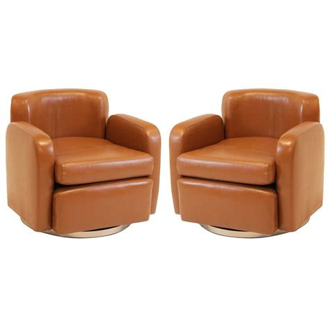 leather swivel armchairs pair of brown contemporary modern leather and chrome