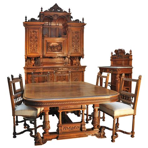 antique neo renaissance style dining room set in walnut