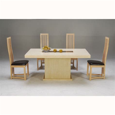 and cocoa brown marble dining table with 4