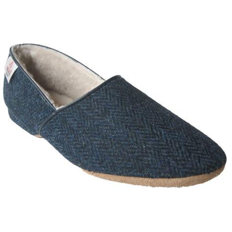 tweed slippers drapers mens lewis navy harris tweed luxury slippers