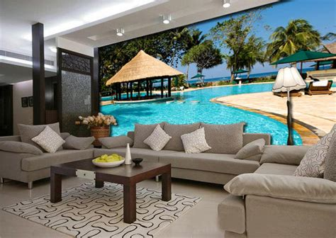 swimming pool sofa 3d wallpaper custom mural photo wall paper mediterranean
