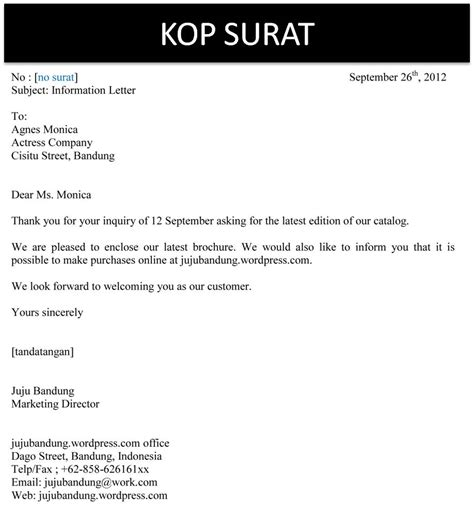 Aneka Surat Sekretaris Bisnis Indonesia surat bisnis dalam bahasa indonesia images