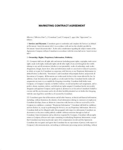 14 marketing contract templates free sle exle