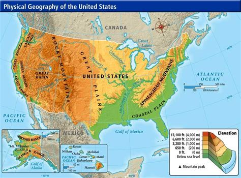 physical features of the united states map america continent study nwagner4org