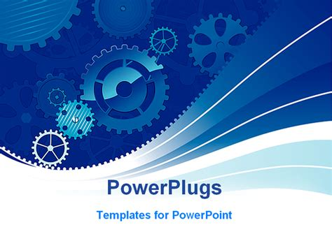 industrial powerpoint templates blue gear background images
