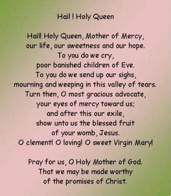printable version of hail holy queen the hail holy queen prayer a popular rosary prayer