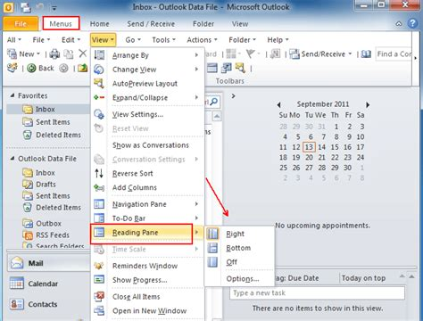 outlook layout email preview where is reading pane in outlook 2010 2013 and 2016