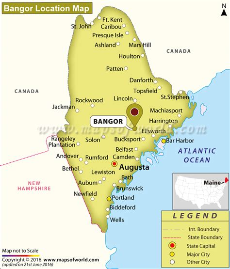 map of maine usa where is bangor located in maine usa