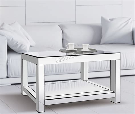 mirrored living room furniture foxhunter mirrored furniture glass coffee table 2 tier