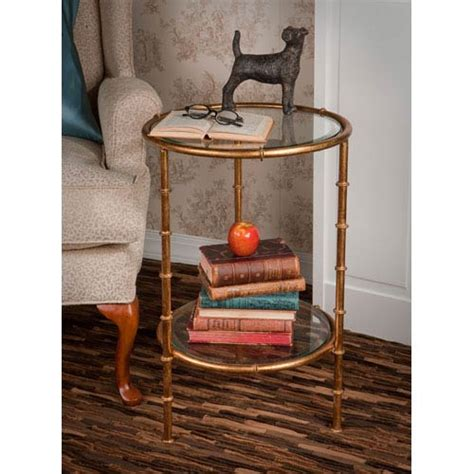 antique gold bamboo drum iron accent table with mirror top dessau home antique gold bamboo end table on sale