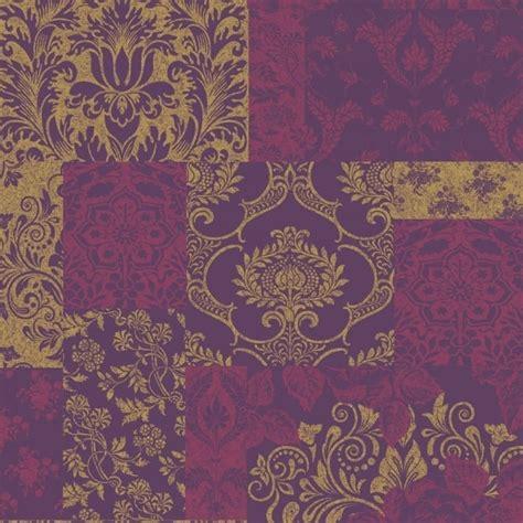 purple gold wallpaper uk vymura brocade patchwork wallpaper purple gold m0891