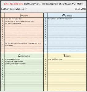 Swot Template Xls by Swot Matrix Template For Excel By Excel Made Easy