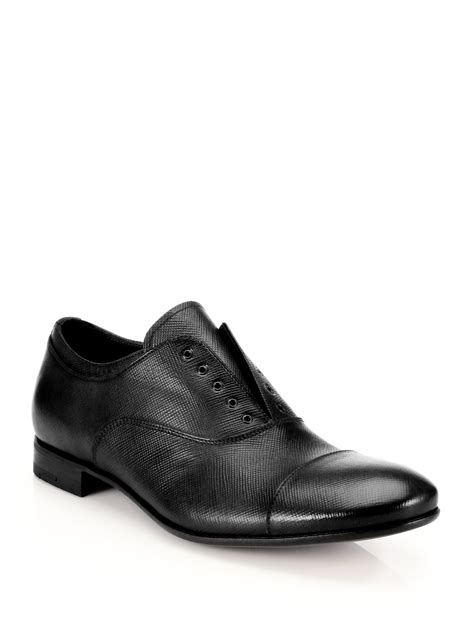 prada oxford shoes lyst prada saffiano laceless oxford shoes in black for
