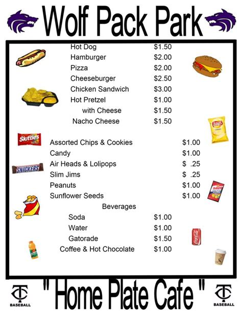 Concession Stand Menu Template 7 best images of baseball concession signs free printable