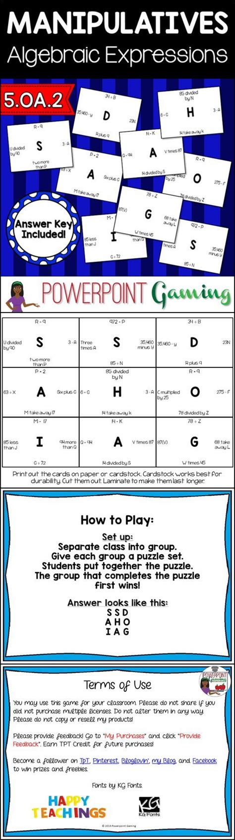5 Oa 1 Worksheets by Algebra Expression Puzzle 5 Oa 1 6 Ee 1 Student The