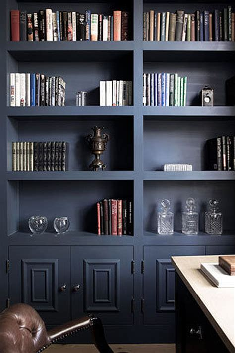 black built ins dark blue built in bookcases love the chunky shelves what a great way to spice up the boring