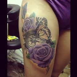 rose clock butterfly thigh tattoo cool tattoos