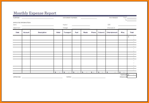 daily expense report template 10 excel expense report template monthly bills template