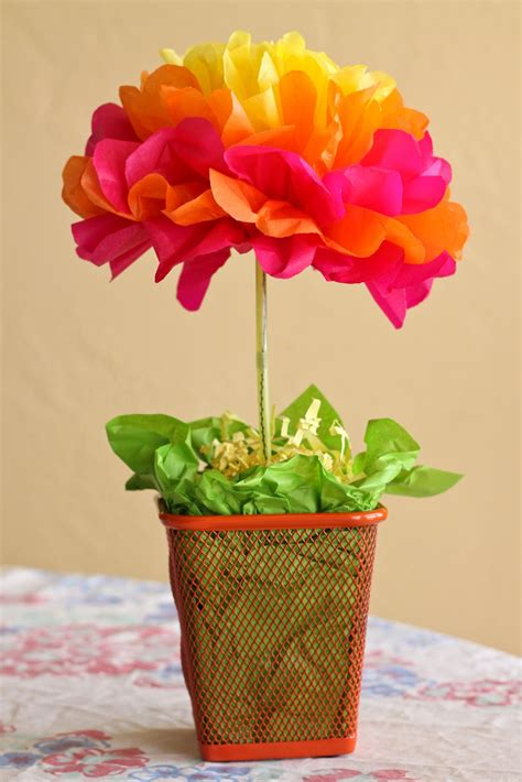 How To Make Tissue Paper Flower Centerpieces - one crafty easy tissue paper flower centerpieces