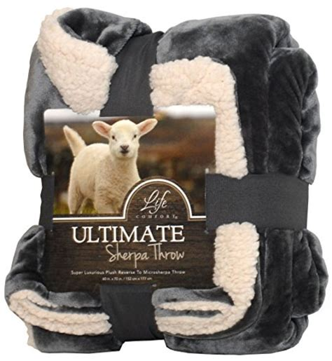 life comfort sherpa blanket life comfort ultimate sherpa throw 60 quot x70 quot gray home