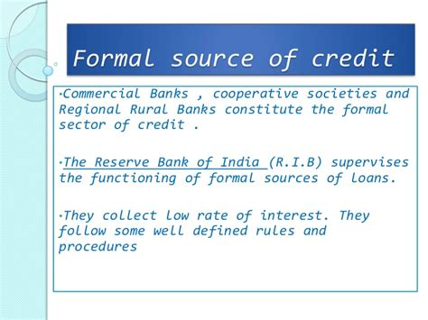 Formal And Informal Sources Of Credit Meritnation Money And Credit
