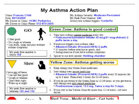 asthma management plan template incorporating an electronic asthma plan e aap