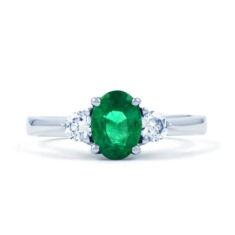 paragon 18ct white gold emerald and engagement