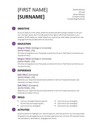 easy cv template for students simple cv office templates