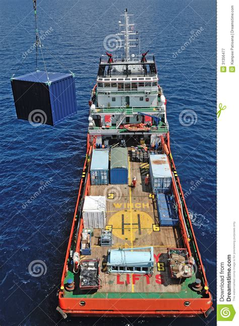 offshore drilling boats supply boat for offshore oil rig operation royalty free