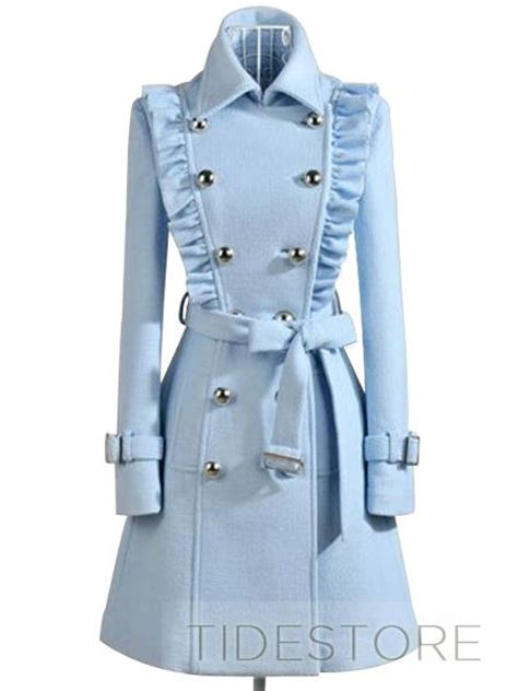 light blue breasted trench coat